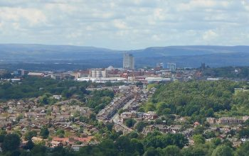 Oldham town centre closeup from Hartshead Pike